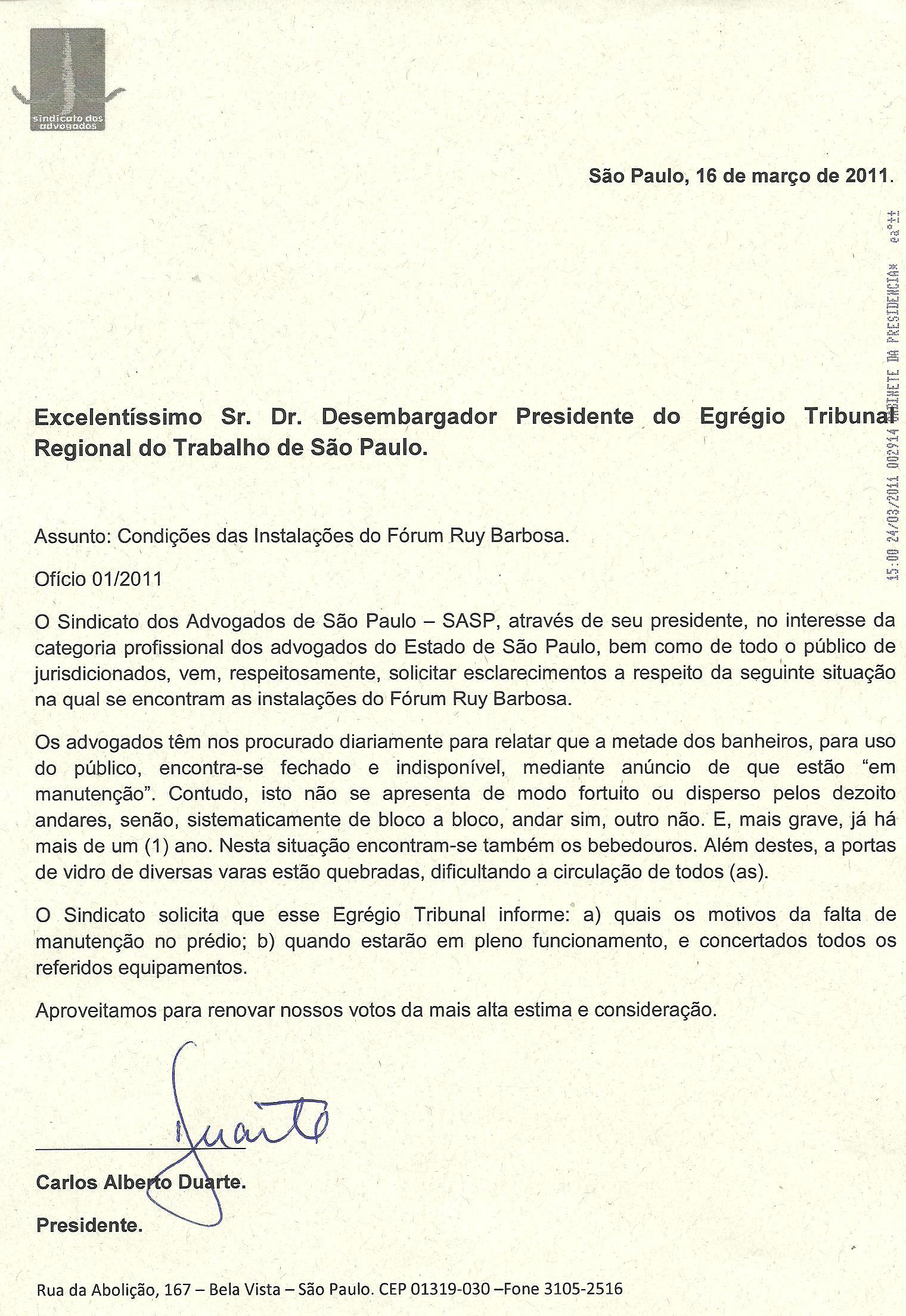 SASP Cobra Melhores Condições nas Instalações no Fórum Ruy Barbosa