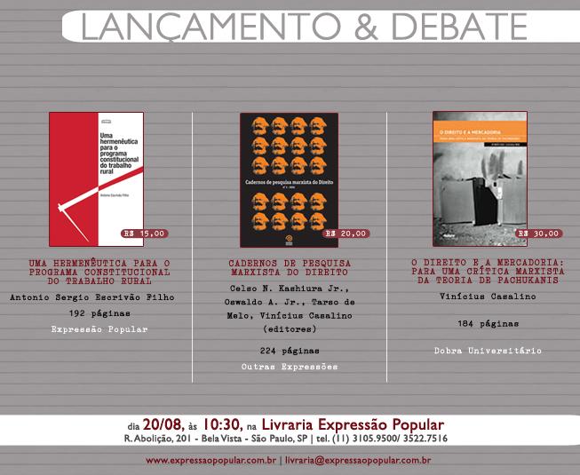 Agende-se! 20 de agosto, às 10:30 horas, lançamento de livros jurídicos na Expressão Popular