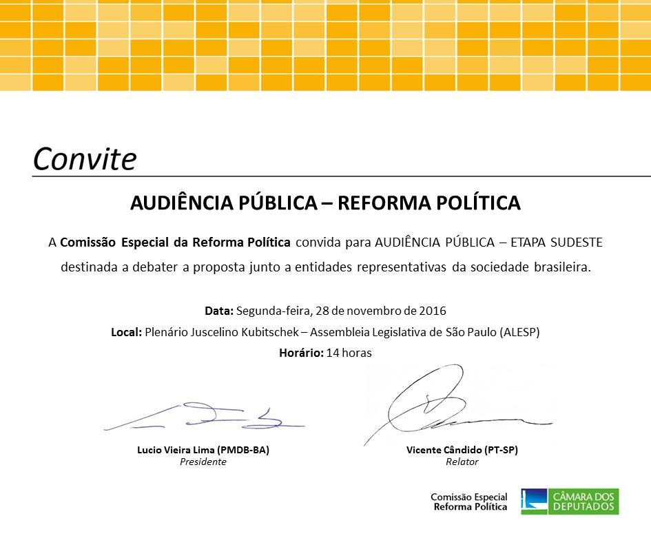 Convite: Audiência Pública – Reforma Política