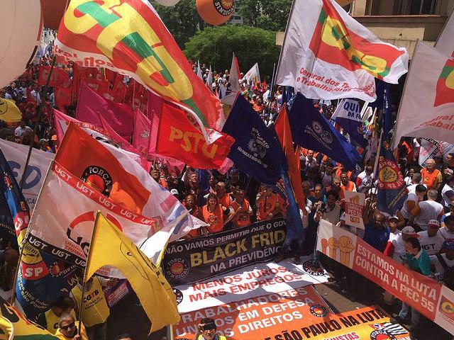Centrais sindicais se posicionam contra reformas do governo Temer durante ato em SP