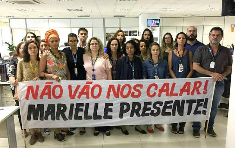Jornalistas da EBC protestam contra censura no caso Marielle